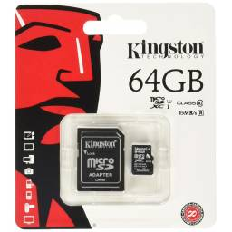 Memoria Micro SD 64GB Kingston c/adap. Class 10I U1 80mb/s