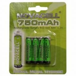 Pack x 4Pilas Novacell AAA Recargables 750mAH