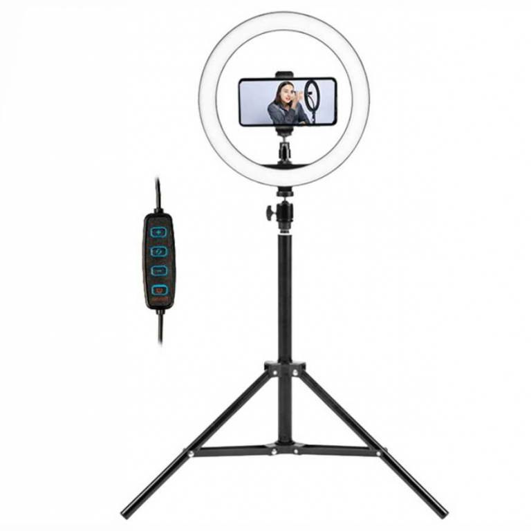 Aro de luz Maquillaje Xion 10 + Tripode y Palo de Selfie Bluetooth (XI-LIGHTSELF)